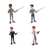 Ställ in 3d affärsmän, chefen, vård- arbetare Arkivbild