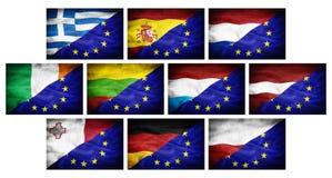 Ställ in (del 2) stora olika nationsflaggor blandade med den europeiska fackliga flaggan Royaltyfri Foto