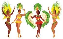 Ställ in den brasilianska sambadansaren Dansar den härliga karnevalflickan för vektorn som bär en festivaldräkt, royaltyfri illustrationer