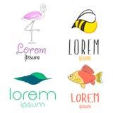 Ställ in den djura logoen Royaltyfria Bilder