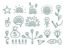 Ställ in den grafiska beståndsdelidén, idérik idékläckning för hjärna Passande för affärspresentationer Arkivfoto