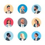 Ställ in den kvinnliga manliga tecknade filmen för olik för affärsfolk för avataren för mannen för kvinnan för framsidan för prof royaltyfri illustrationer