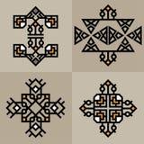 Ställ in den lyxiga garneringmalljapanen, calligraphic, arabisk aztec elegant prydnad Affärstecken, identitet för royalty, Bouti Royaltyfri Bild