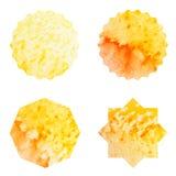 Ställ in den orange etikettvattenfärgen Royaltyfria Bilder