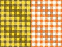 Ställ in den sömlösa modellen för vektorn Bred cellbakgrundsapelsin och torkduk för gulingfärgtabell i en bur Abstrakt rutigt royaltyfri fotografi