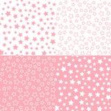 Ställ in den sömlösa modellen för vektorstjärnan Rosa bakgrund för färgpalett Textildesign för baby shower stock illustrationer