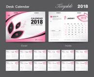 Ställ in designen 2018, rosa färgräkningen, uppsättningen för mallen för skrivbordkalendern av 12 månader stock illustrationer