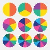 Ställ in det färgrika diagrammet för mallpajen Royaltyfria Foton