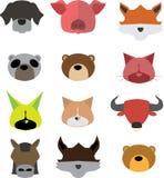 Ställ in det head djuret för symbolen Royaltyfri Bild