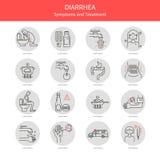 Ställ in diarrésymboler royaltyfri illustrationer