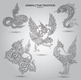 Ställ in djur thai tradition svartvit stock illustrationer