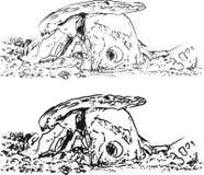 Ställ in dolmenportalgravvalvet eller portalen Megalitiska strukturer, skissa stock illustrationer