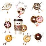 Ställ in donuts för symbolstecknad filmtecken vektor illustrationer