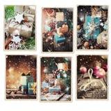 Ställ in dragit snöfall för jul olika kort Arkivbilder