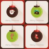 Ställ in droppen av bollen för jul för hälsningkort Arkivbild