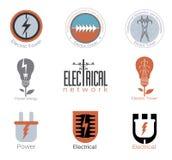 Ställ in elektricitetsvektorlogoen, etikett Arkivbilder