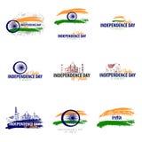 Ställ in emblem av självständighetsdagen av Indien 15th august vektorillustration stock illustrationer