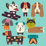 Ställ in en gullig samling för lägenhet för hundkapplöpninghuvud Arkivfoto