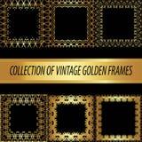 Ställ in en samling av den guld- fyrkanten Royaltyfri Foto