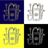 Ställ in en smartphone med hörlurar fyra färger av svart vitt blått Royaltyfria Foton