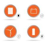 Ställ in energisymbolen i orange cirkelvektor Fotografering för Bildbyråer