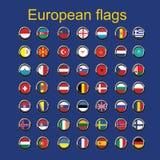 Ställ in euroupeflaggor royaltyfri illustrationer