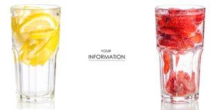 Ställ in exponeringsglas med jordgubben för lemonadläskcitronen royaltyfri foto