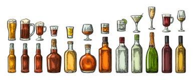 Ställ in exponeringsglas- och flasköl, whisky, vin, gin, rom, tequilaen, konjak, champagne, coctailen, toddy stock illustrationer