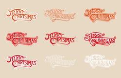 STÄLL IN färg för glad jul för logoen olik på beige bakgrund Fotografering för Bildbyråer