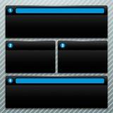 Ställ in fönster med svart som numrerar i blått Fotografering för Bildbyråer