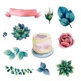 Ställ in för att dekorera bröllopstårtan filialblommor och bär royaltyfri illustrationer