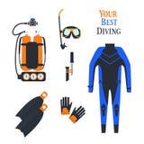 Ställ in för att dyka sportar kostyumimmersion i vatten, Balonluft också vektor för coreldrawillustration Arkivbilder