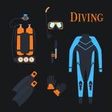 Ställ in för att dyka sportar kostyumimmersion i vatten, Balonluft också vektor för coreldrawillustration Arkivfoto