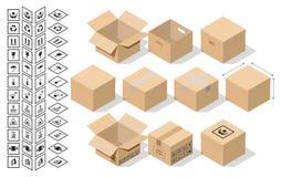 Ställ in för att förpacka i isometrisk stil stock illustrationer