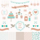 Ställ in för att gifta sig design Förälskelsebeståndsdelar för din design Royaltyfria Foton