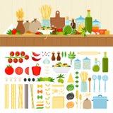 Ställ in för att laga mat pasta hemma Arkivfoto