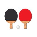 Ställ in för att spela bordtennis Två racket och en bordtennisboll arkivbild