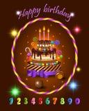 Ställ in för beröm för ungetecknad filmfödelsedag, kakan och sötsaker för barn` s, godisar, stearinljus och ferieexponeringar, nu Fotografering för Bildbyråer