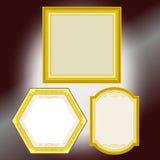 Ställ in för bildramar för tappning den guld- illustrationen för vektorn för designen Vektor Illustrationer