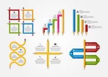 Ställ in för den Infographics för utbildningsblyertspennaalternativ mallen designen Arkivbilder
