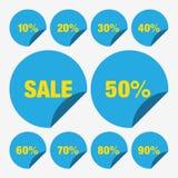 Ställ in för den Sale för mallen blåa procent för symbolen för vektorn etiketten, den etikettsSale vektorn, den fastställda etike Royaltyfri Bild