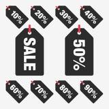 Ställ in för den Sale för mallen svarta procent för symbolen för vektorn etiketten, den etikettsSale vektorn, den fastställda eti Arkivbild