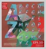 Ställ in för designstil för stilsorten mång- färg för det låga poly alfabetet Arkivfoto