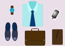 Ställ in för en modern affärsman med grejer och tillbehör Royaltyfri Fotografi
