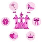 Ställ in för en prinsessa med en slott Arkivfoton
