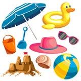 Ställ in för en strandferie royaltyfri illustrationer