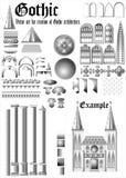 Ställ in för gotisk arkitektur. (Vektor) Royaltyfria Bilder