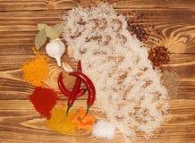 Ställ in för grönsakpaella, pilaff, risotto Arkivfoto