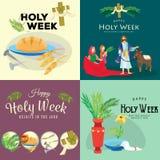 Ställ in för helig vecka för kristendomen för easter, fastlagen och gömma i handflatan eller passion söndag, långfredagkorsfästel royaltyfri illustrationer