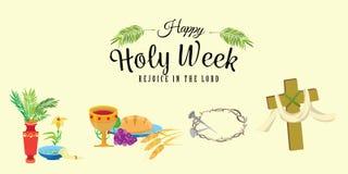 Ställ in för helig vecka för kristendomen för easter, fastlagen och gömma i handflatan eller passion söndag, långfredagkorsfästel stock illustrationer